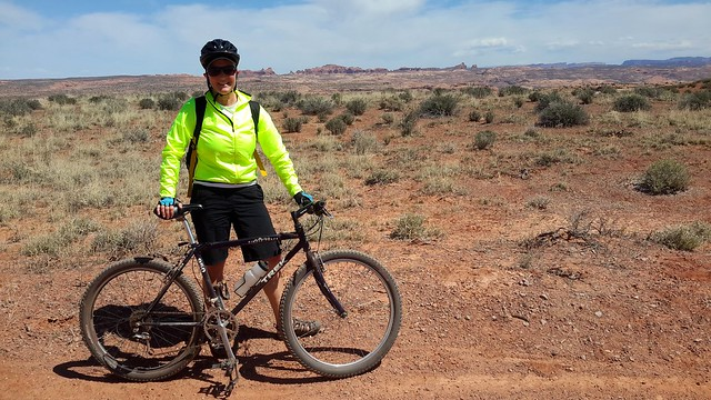 That's Arches National Park in the background!
