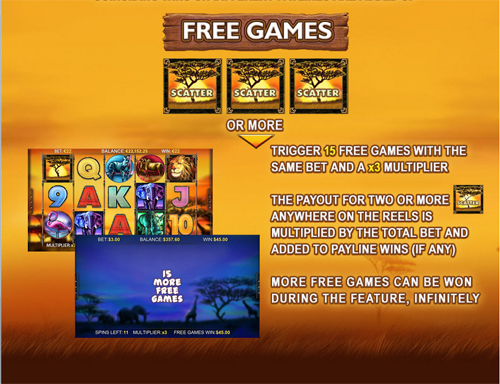 free Safari Heat Mobile free spins paytable