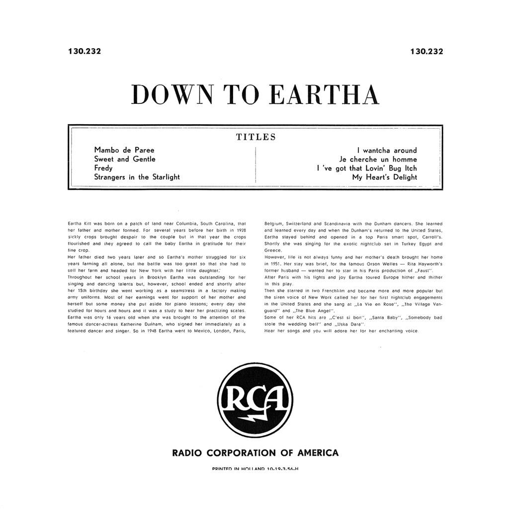 Eartha Kitt – Down to Eartha