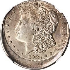 Off-center 1921-D Morgan dollar obverse