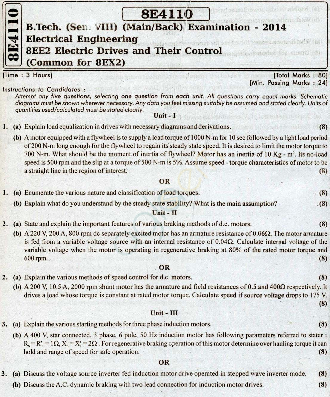 RTU: Question Papers 2014 - 8 Semester - EE - 8E4110