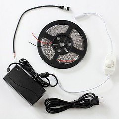 SUPERNIGHT (TM) Cool White LED Strip Light Ribbon Plug-To-Use Kit, 5M or 16.4ft 300 LEDs SMD 5050 With 12V 5A Transformer/Power Supply and Dimmer