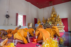 HUAHIN-THAILAND-30APR ,2016 : Newly ordained Buddhist monk pray with priest procession. Newly ordained Buddhist monks have a ritual in the temple procession on april 30, 2016 in huahin,prachuapkirikan Thailand