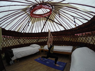 Sleeping in a yurt at the TES Guesthouse