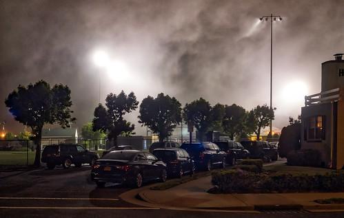 fog night landscape lights shore memorialday baseballfield