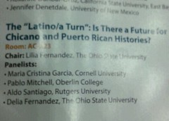 Looking forward to hearing my new #MSU colleague Delia Fernandez talk about her work. #OAH2015 #Latinidad #LatinxStudies April 18, 2015 at 12:15PM