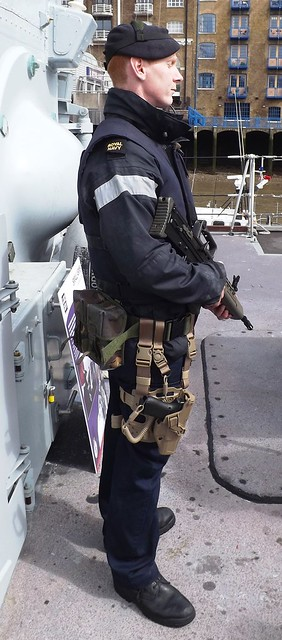 Sailor with force protection kit (2) on HMS Middleton 25-04-15