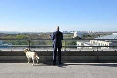 Secretary Kerry -- and 'DiploMutt' Ben -- Look at National Mall While Prepping for Sunday Show Appearances