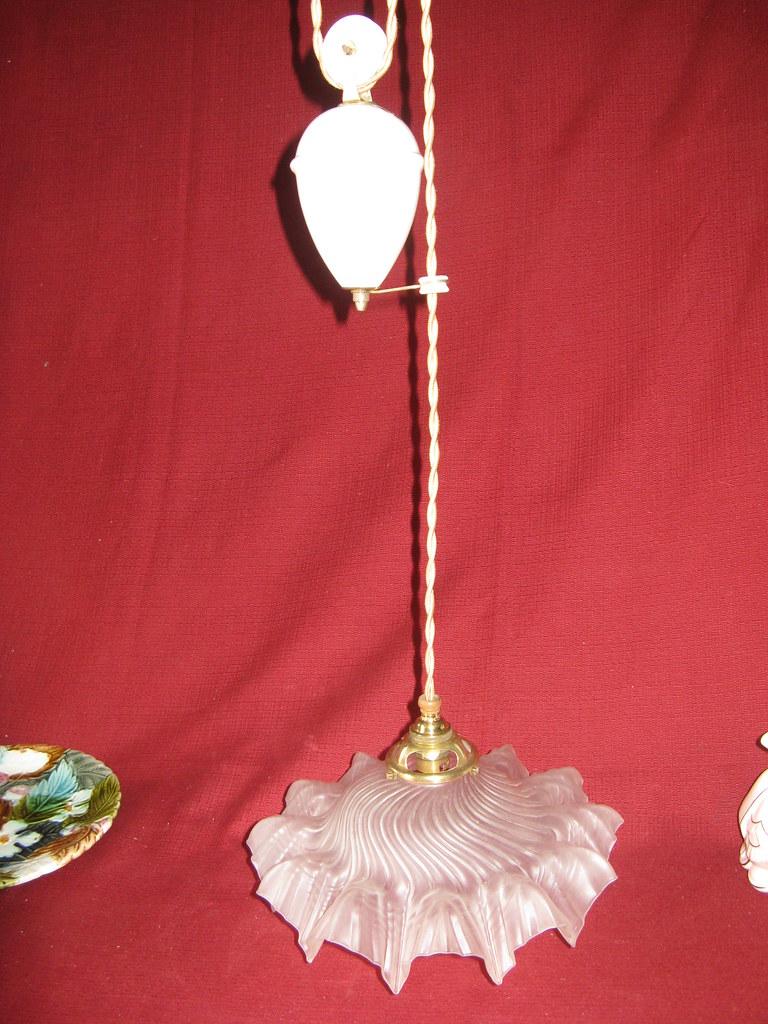 Ancien lustre monte et baisse 1920 porcelaine et opaline ebay - Ancien lustre suspension ...