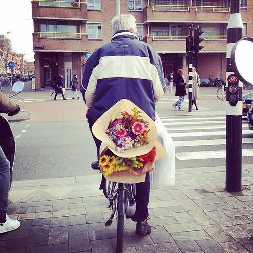 Carrying flowers on #bikeluggagerack #flowers #fleurs #bike #velo #amsterdam #wibautstraat