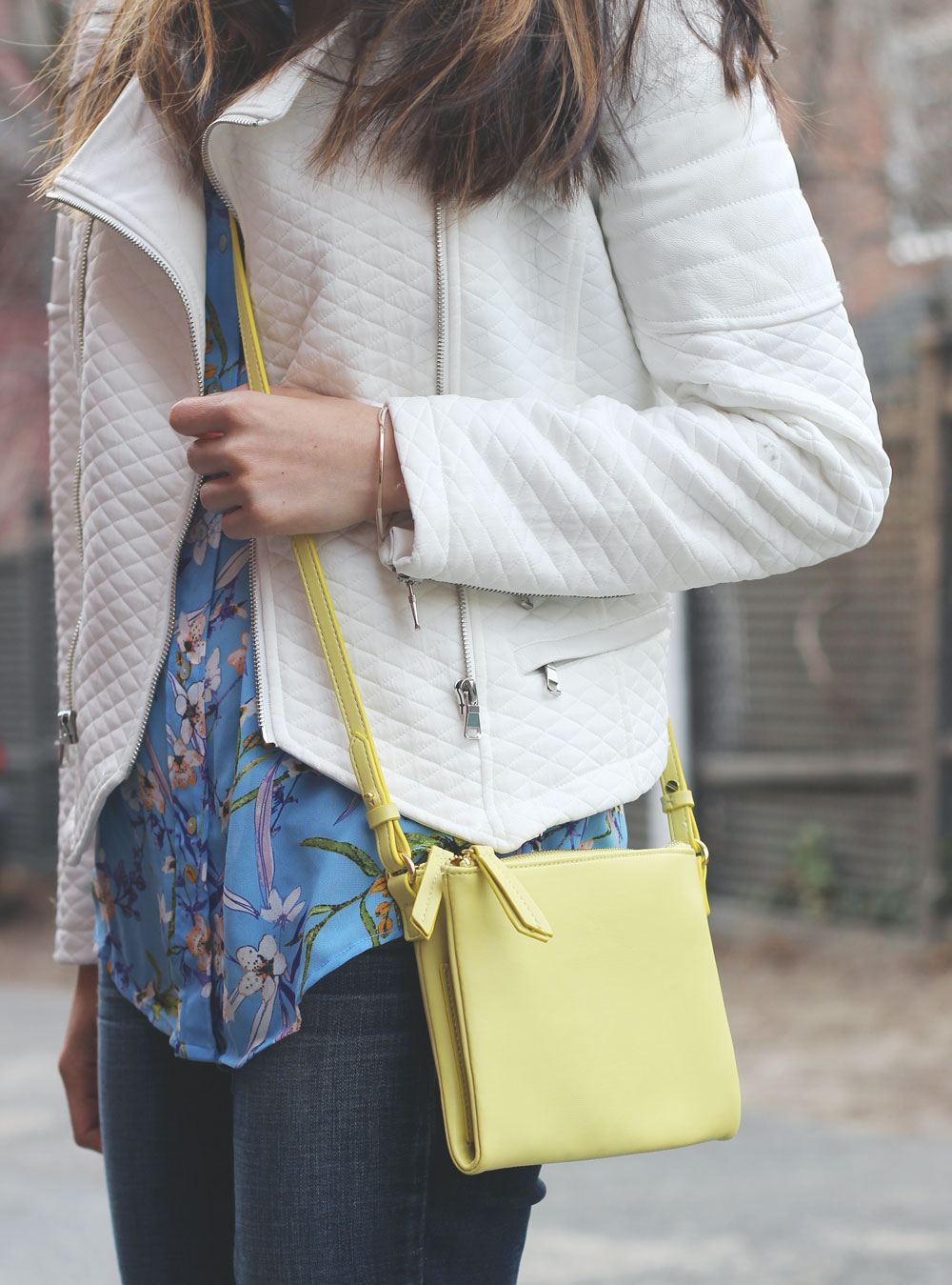 Yellow faux leather crossbody from Old Navy