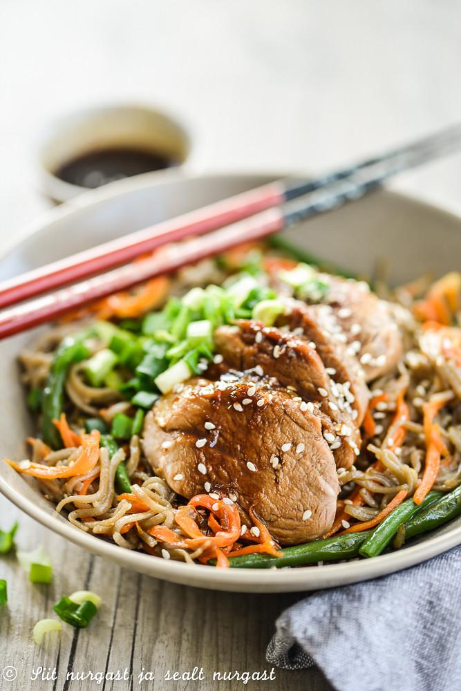 teriyaki pork with udon noodles and vegetables