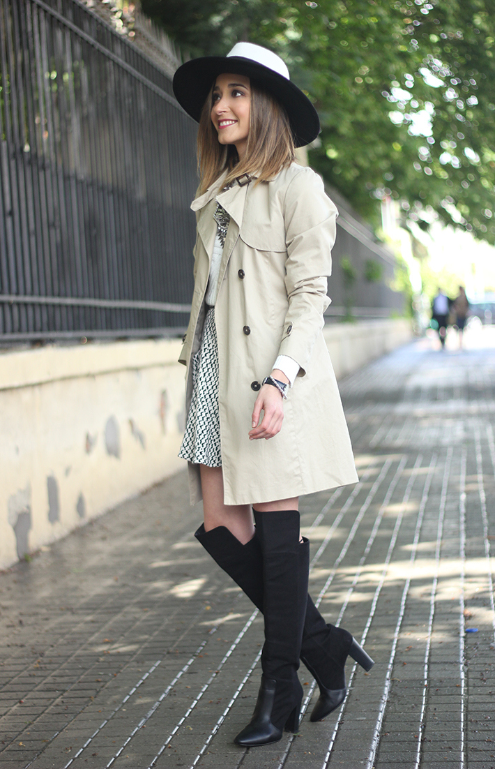 trench black and white hat black boots16