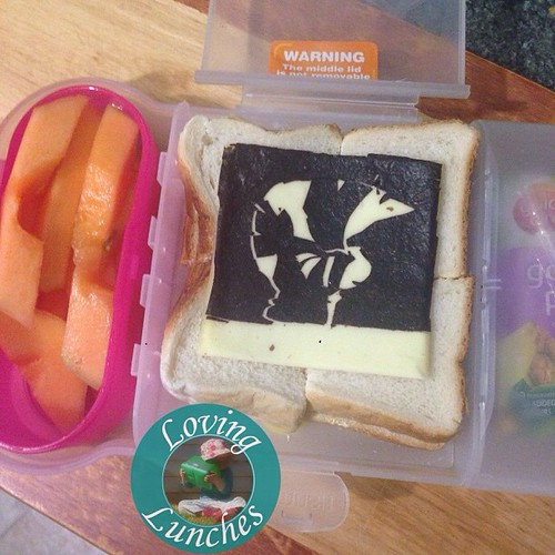 Loving a cheaty lunch for tomorrow… rockmelon off cuts from last week's rockstar lunch. Repurposed #noricutting off cuts from today's #Zecora lunch atop a vegemite sandwich. Toss in a @sinchies yoghurt pouch and a popper and I call it lunch! #oneofthoseda