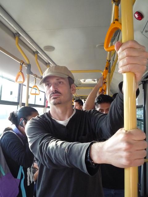 Kurt riding the Metro in Lima