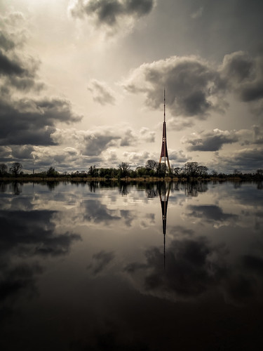 sky reflection tower nature clouds river landscape town spring pub outdoor horizon latvia riga procesing daugava