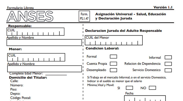 formulario Asignación Universal por Hijo