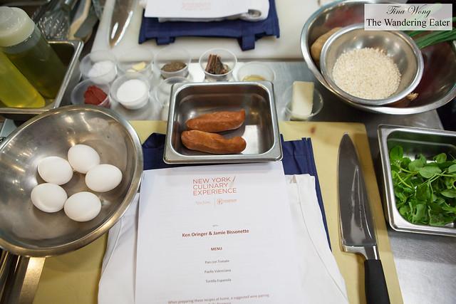 Mis en place for Chefs Ken Oringer & Jamie Bissonette class