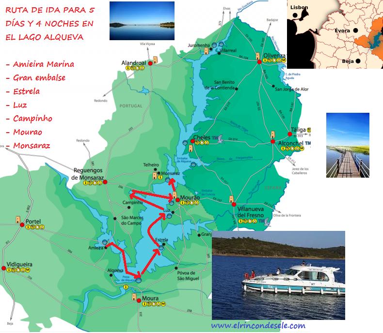 Mapa de la ruta por el Grande Lago Alqueva (Alentejo, Portugal)