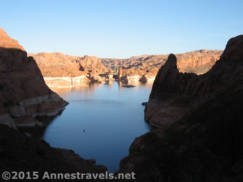 Looking back at Lake Powell near sunset from Hole in the Rock, Glen Canyon National Recreation Area, Utah