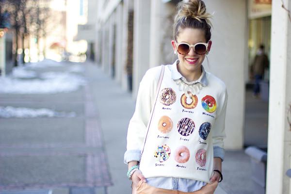 Donut sweater, style tab, boston fashion blogger, Forever 21