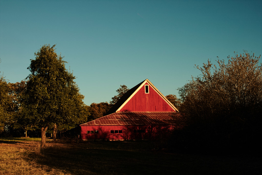 An old barn in a fruit orchard at William L. Finley National Wildlife Refuge