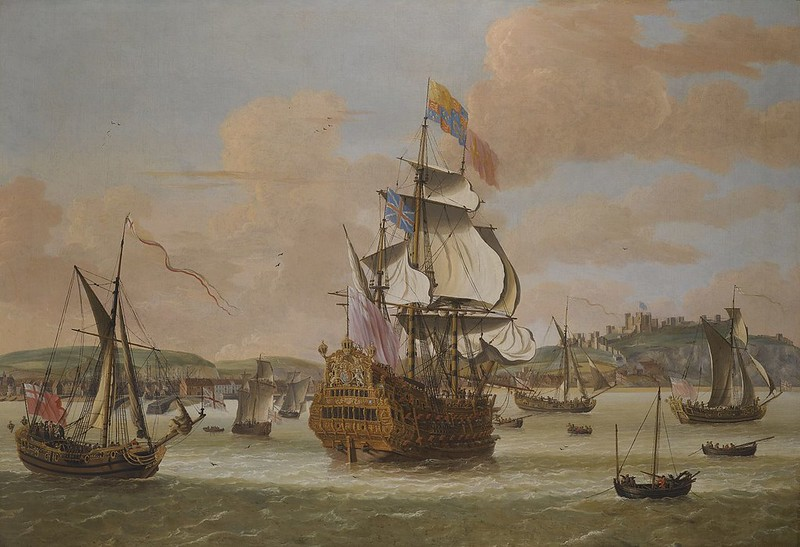 Charles II and James, Duke of York, on board H.M.S. Triumph, with three Royal Yachts of Dover