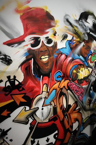 Nassyo, 'Roots' (oeuvre créée sur le site), 2015 - Exposition Hip Hop, du Bronx aux rues arabes (Institut du monde arabe)
