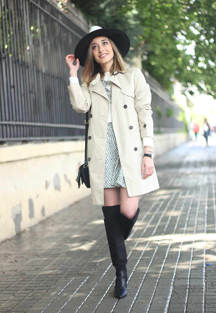 trench black and white hat black boots11