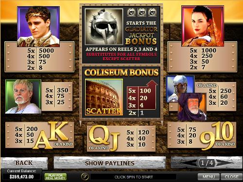 free Gladiator Jackpot slot payout