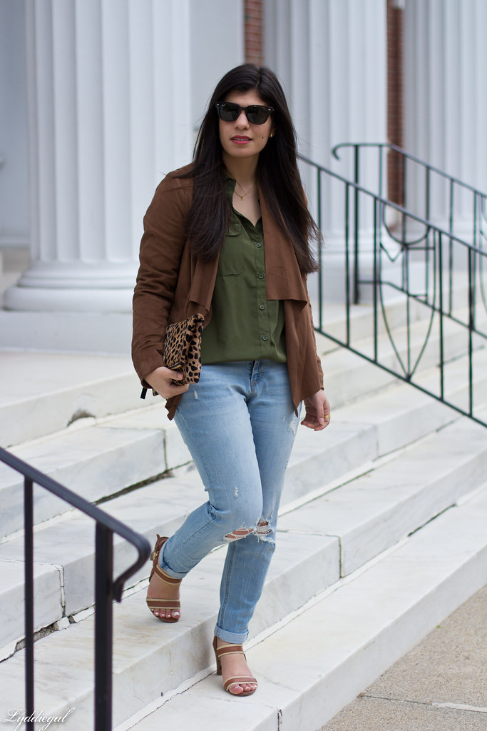 green button down, brown draped jacket, distressed denim-1.jpg