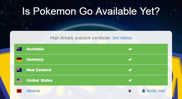 [Is Pokémon GO Available Yet?] 的服務界面