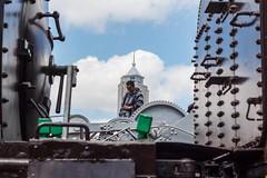 Man and machine. Taken during the #samsungke Instameet. @thirdworldhippy #samsungcoloursofkenya2 @samsungkenya #portraitphotography #igkenya #vscokenya #malemodel #maleportrait #portrait #trainstation #traintracks #train