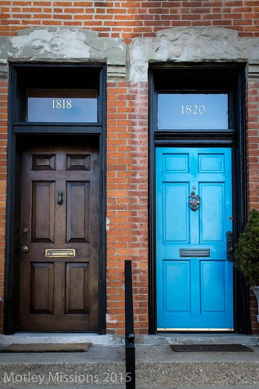 brown door blue door
