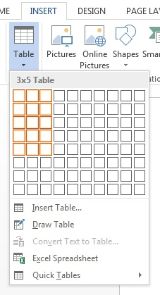 word 2013 insert table