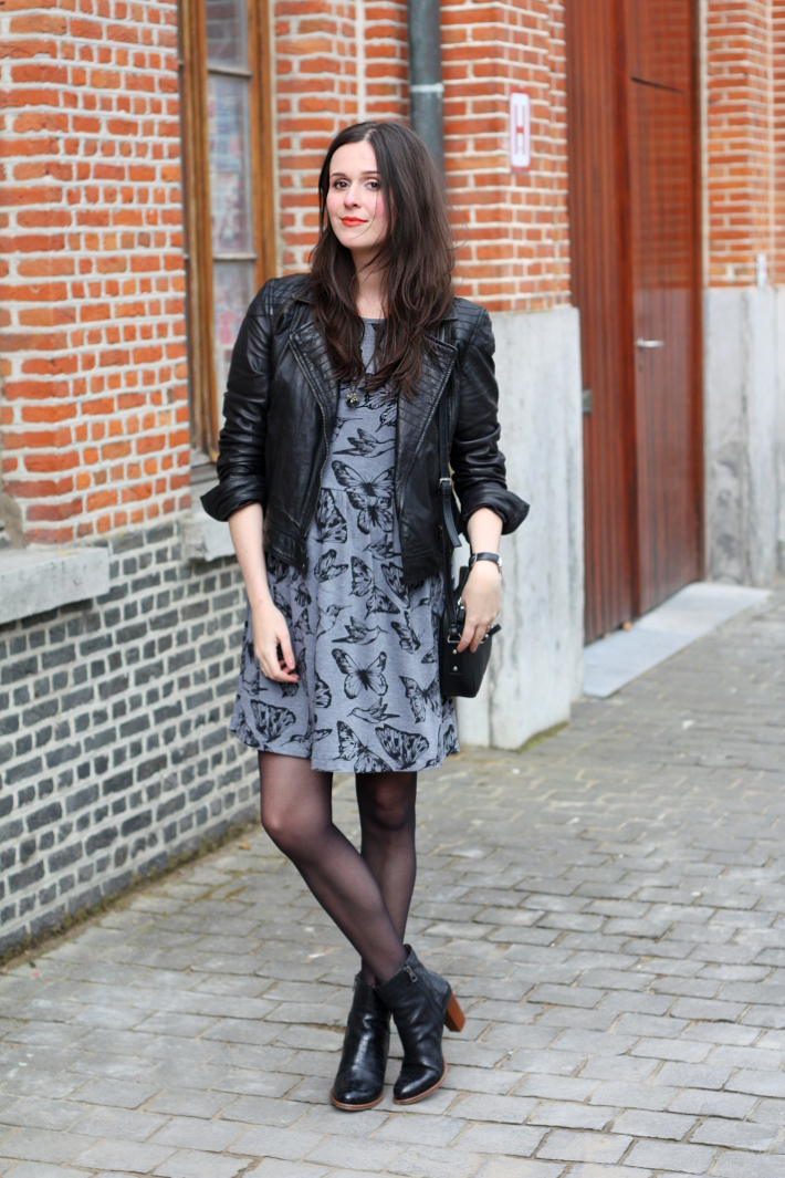 outfit: Aria Montgomery inspired in leather jacket and butterfly printed dress
