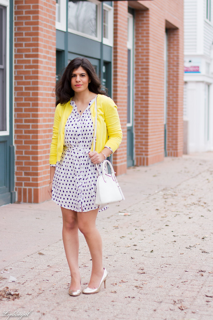 polka dot shirt dress, yellow cardigan, silver pumps-1.jpg