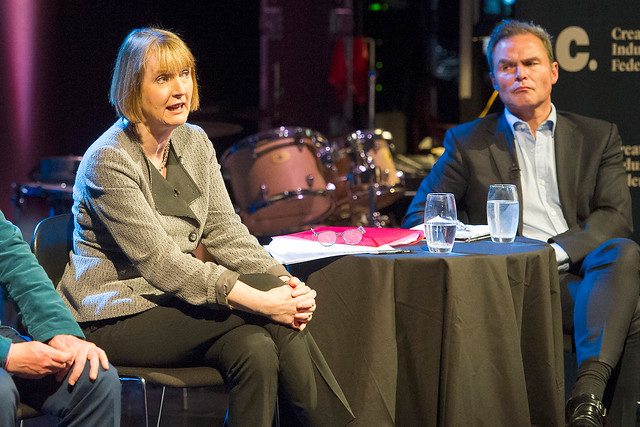 Labour's Harriet Harman and UKIP's Peter Whittle at The Culture Debate © ROH. Photo by Alastair Muir, 2015