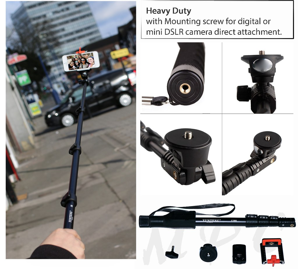 heavy duty selfie stick monopod rechargeable bluetooth remote iphone 6 6 5s 5. Black Bedroom Furniture Sets. Home Design Ideas