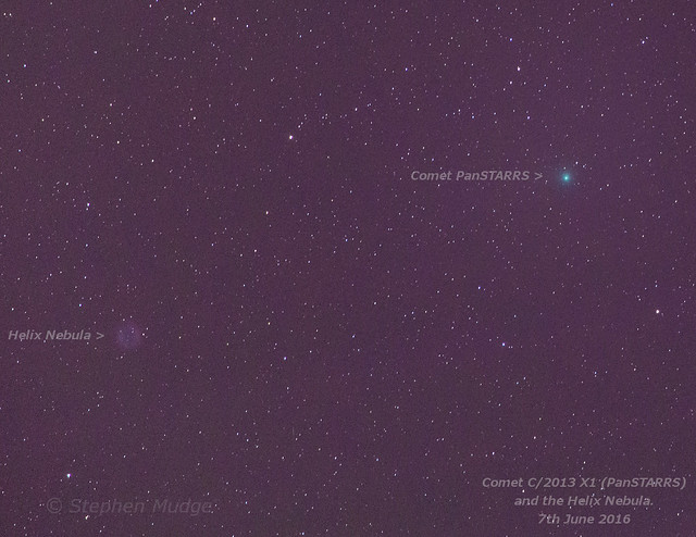 Comet PanSTARRS (2013 X1) and Helix Nebula 7Jun16 labelled