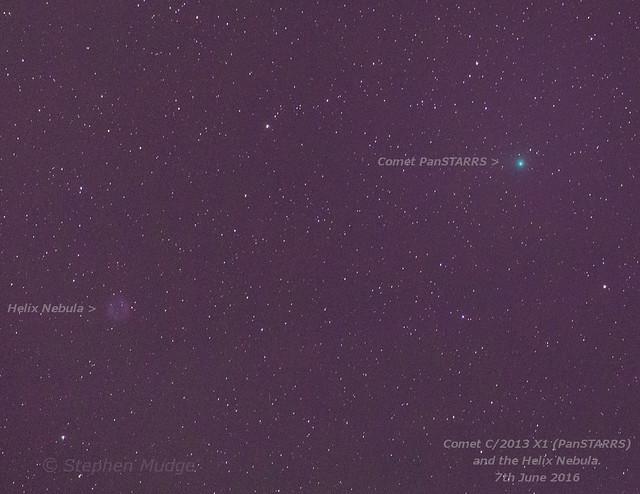 Comet PanSTARRS (2013 X1) and Helix Nebula 7Jun16 labelled