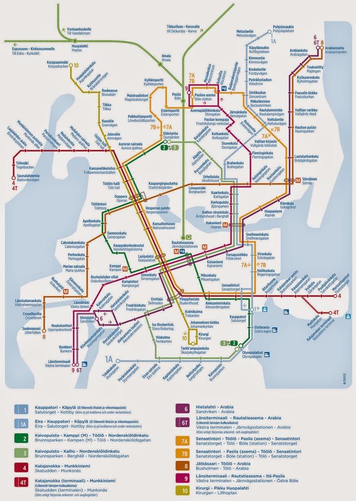 赫爾辛基tram路線圖