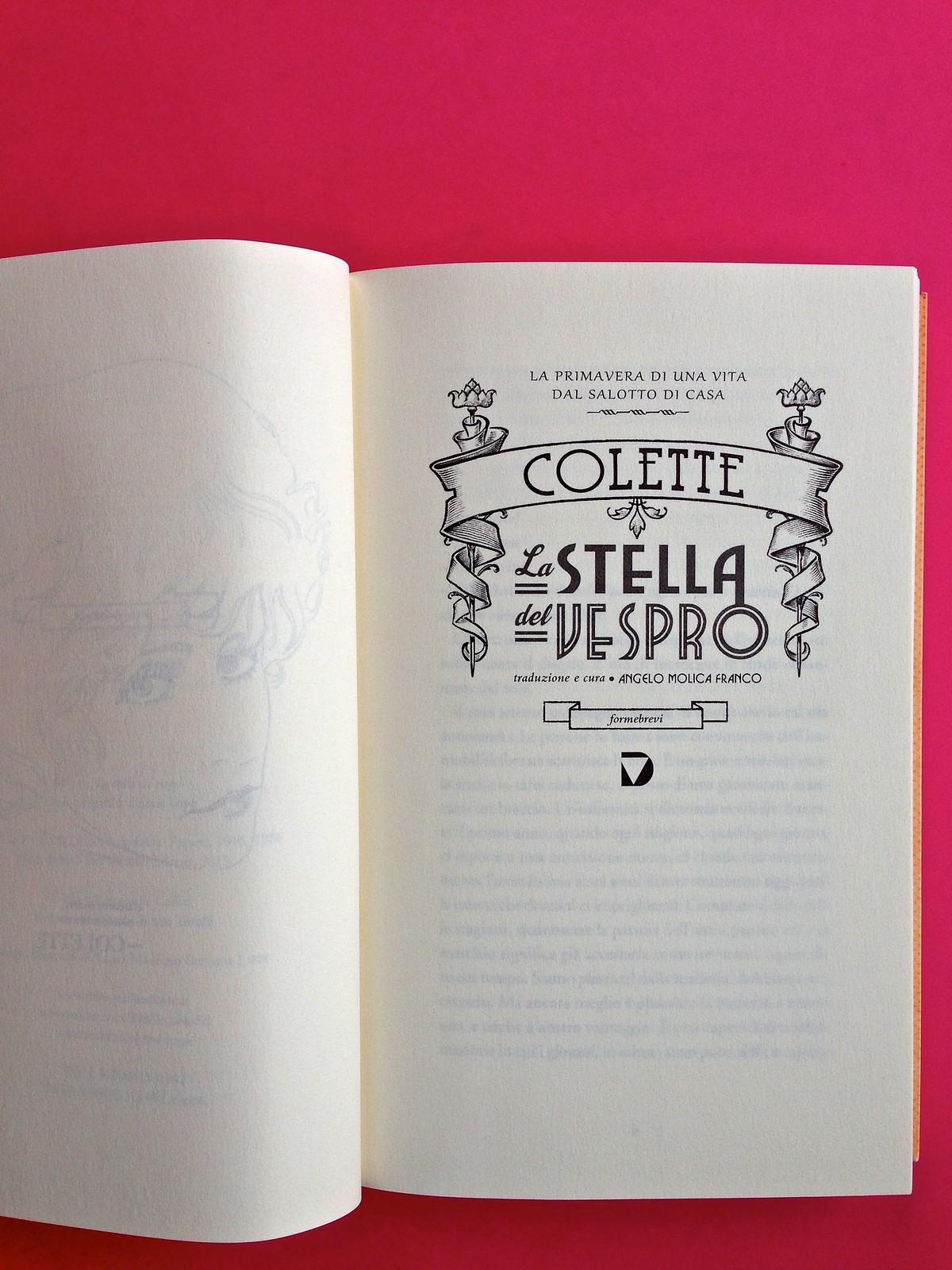 La stella del vespro, di Colette. Del Vecchio Editore 2015. Art direction, cover, illustrazioni, logo design: IFIX | Maurizio Ceccato. Frontespizio, a pag. 7 (part.), 1