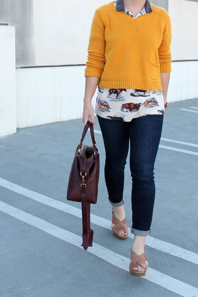 cuffed skinny jeans and heels