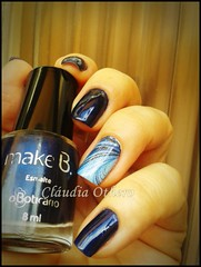 London nigth blue + pelicula Marble Look das unhas
