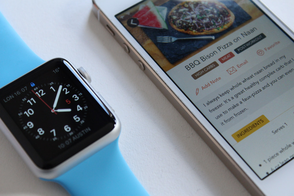 Another shot of our app next to the Apple Watch