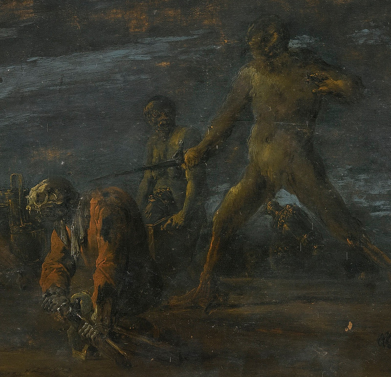 Leonaert Bramer - Dives, tormented by demons in hell, 16th century (detail 1)