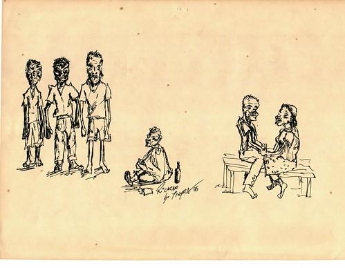 Ilustração homens, mendigo, casal / Autor: Ricardo Tayra - 1995