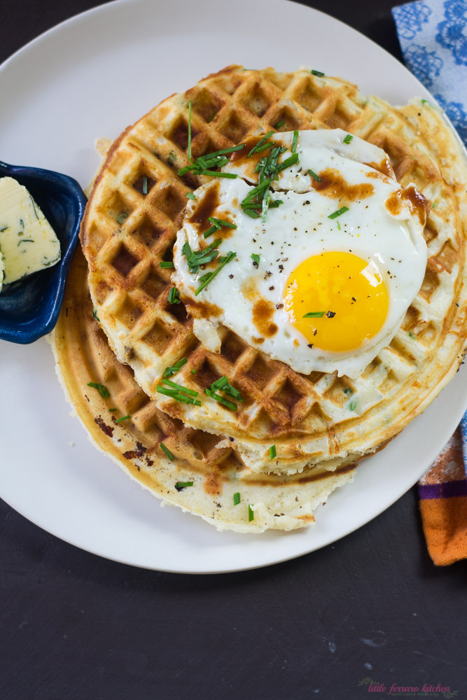 Savory Pancetta and Cheddar Waffles via LittleFerraroKitchen.com