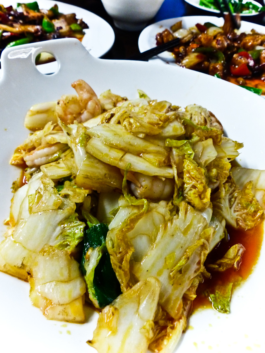 Sauteed-King-Prawn-with-chinese-lettuce-and-chilli-oil,-My-Old-Place,-Chinese-Restaurant,-London